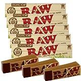 RAW - Cartine organiche per sigarette, modello Kingsize slim, 5 pacchetti, 3 pacchetti di filtri immagine