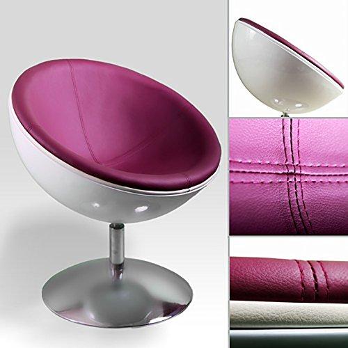 DESIGNER SCHALENSESSEL retro Möbel Lounge Cocktailsessel bequem gepolstert C13 weiß-pflaume