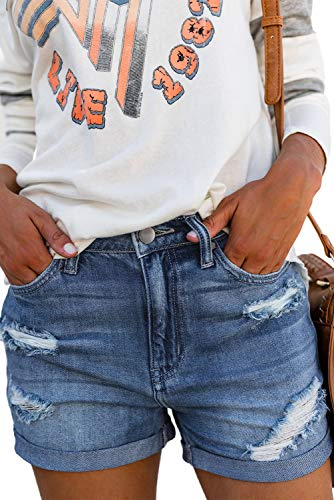 Aleumdr pantaloncini donna jeans strappati jeans donna corti estate pantaloncini denim donna con tasche - blu
