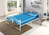 UEnjoy 4FT6 Double Bed Frame White Metal Bedstead