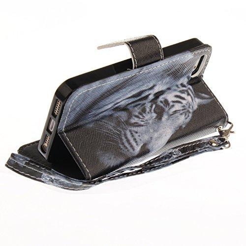 Custodia iphone SE / 5 / 5S Cover ,COZY HUT Flip Caso in Pelle Premium Portafoglio Custodia per iphone SE / 5 / 5S, Retro Animali di cartone animato Modello Design Con Cinturino da Polso Magnetico Sna tigre bianca