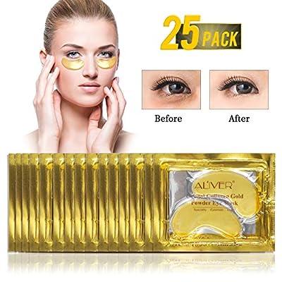 (25 Pairs) ALIVER Crystal 24K Gold Powder Gel Collagen Eye Mask,Premium Anti Aging, Anti Wrinkle, Moisturiser for Under Eye Wrinkles, Remove Eye Bags, Under-eye, Dark Circles,Hydrating, Puffy Eyes by Lily Store