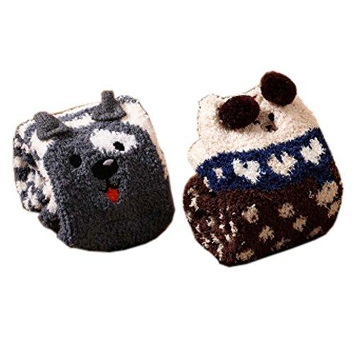 2 Paar Soft Fuzzy Sleeping Socken Slipper Socken Warm Floor Socks Weihnachtsgeschenke, Wolf & Bear (Gestreifte Weiche Fuzzy-socken)