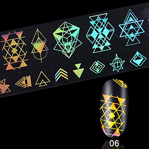 feiXIANG Holographique Laser Coloré Nail Art Manucure Sticker Nail Art Foil Sticker Holographic Laser Gradient Starry Sky Geometry Flower Animal Manicure Transfer Decals
