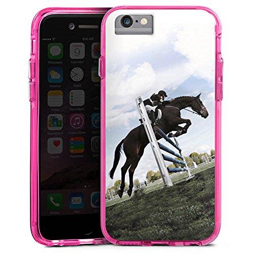 Apple iPhone 8 Bumper Hülle Bumper Case Glitzer Hülle Pferd Horse Reitsport Bumper Case transparent pink