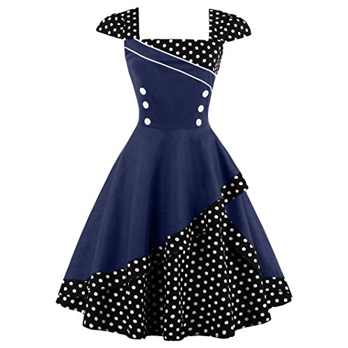 DISSA EM1398 Vintage pin-up 50's 60's Robe de Soiré,Bal cocktail Rockabilly Swing femme Bleu