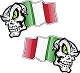 Linkshänder Paar Skull Mascots mit Flying Italien Italienische Flagge Design für Motorrad Helm Auto Aufkleber 100x 65mm je