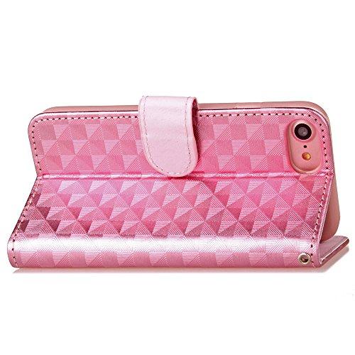 Voguecase Pour Apple iPhone 7 4,7 Coque, Étui en cuir synthétique chic avec fonction support pratique pour iPhone 7 4,7 (ZG-Rose)de Gratuit stylet l'écran aléatoire universelle Motif carré-Pink