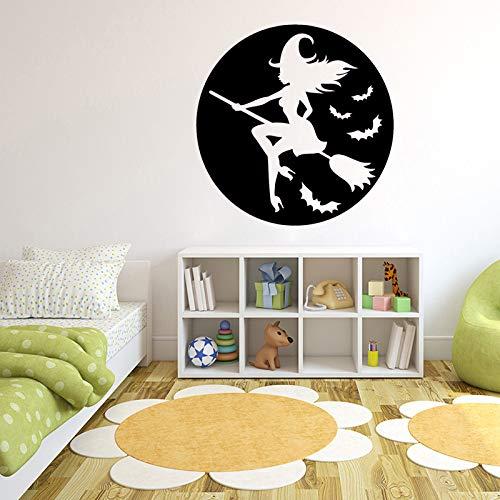 jiuyaomai Hexe Besenstiel Wandaufkleber Für Halloween Home Wohnzimmer Dekoration Vinyl Wandtattoos Kindergarten Schlafzimmer Kunst Decor rot 56X56 cm