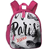 Lovely Schoolbag Paris City Various Symbols Double Zipper Waterproof Children Schoolbag Backpacks with Front Pockets for Teens Boy Girl
