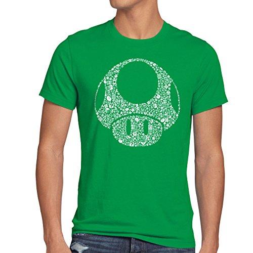 A.N.T. Super Toad Play Herren T-Shirt Mario Pilz Game Gamer, Größe:M;Farbe:Grün