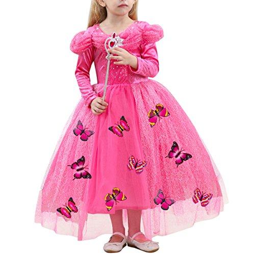 IWEMEK Karneval Mädchen Prinzessin Cinderella Schmetterlinge Maxi Kleid Aschenputtel Kleid Prinzessin Kostüm Schmetterling Mädchen Halloween Weihnachtsmädchen Cosplay Heißes Rosa 5 (Sweetheart Prinzessin Kind Kostüm)