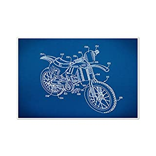 ArtsyCanvas Dirt Bike Gearhead Blueprint Art (24 x 16 Poster), 24