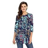 Damen Langarmshirt 3/4 Arm Bluse Vintage Blumenmuster Oberteile Rundhals Tops, Blau-blumen,  XL