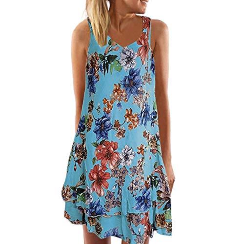 Yvelands Damen Tank Kleid Sommer V-Ausschnitt ärmelloses Boho Kleid gedruckt Beach Party ()