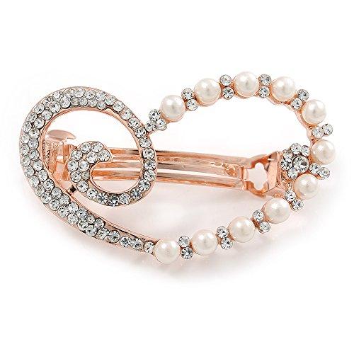 Kristall klar, Glas-Perle Open gleichschenklig Herz Haarspange Hair Clip Grip in rose Gold Tone–50mm über