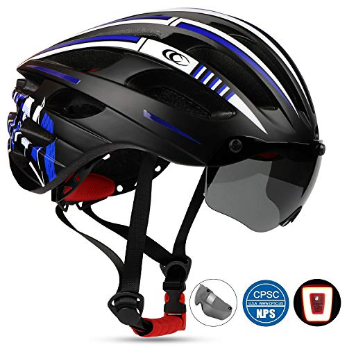 Shinmax Casco Bici per Adulti, Casco da Bicicletta Strada,Certificato CE, Visiera Parasole Rimovibile e Occhiali Rimovibili. Luci Posteriori LED Rimovibili.