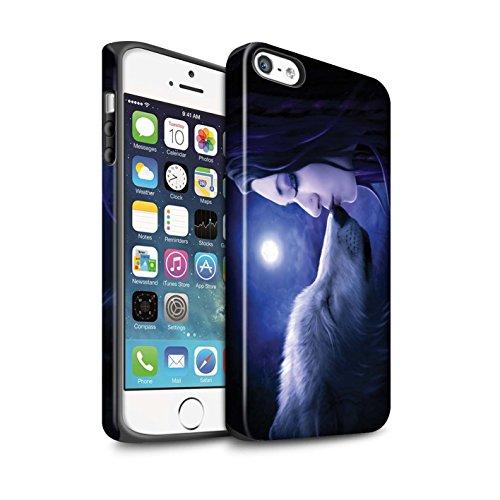 Officiel Elena Dudina Coque / Matte Robuste Antichoc Etui pour Apple iPhone SE / Balançoire Étang Design / Un avec la Nature Collection Baiser de Lune