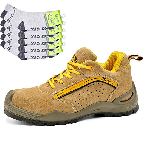 SAFEYEAR Breathable Leather Safety Shoes [CE Certified] - 7296 Lightweight Summer Site Safety Trainers with 4E Wide Fit Steel Toe Cap, Non Slip Work Shoes Boots with Men & Women Lady Footwear Size