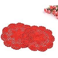 Lychee 2 Pezzi Sottopiatto Rotonda Handmade Crochet del cotone del merletto sottobicchieri Tovagliette Centrini Rosso