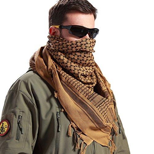 FREE SOLDIER 100% Baumwolle Militär Tactical Desert Shemagh Palästinensertuch-Schal Wrap Für Männer & Frauen (braun) (Square Schal Stripe)