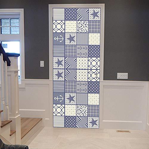 Black Mosaic Tile (Porta 3D Door Stickers Kaleidoscope Color White And Black Tiles Mosaic Bedroom Wooden Door Home Decoration Poster)