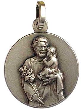 925 Sterling Silber Medaille von Heiliger Josef - Patron der Arbeiter und der gute Tod ...