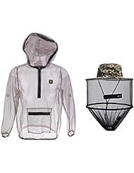 MagiDeal Veste Anti-moustique avec Chapeau Anti Insecte Costume Maille Vêtement Masque Protection de Visage Tête pour Pêche Camping Apiculture