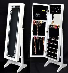 armoire bijoux avec miroir 145 cm blanc avec d coration. Black Bedroom Furniture Sets. Home Design Ideas