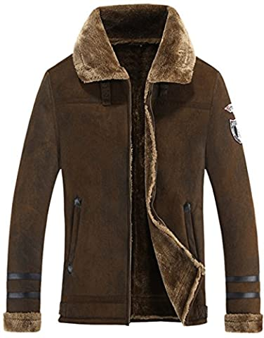 WS668 Herren Winter Hochwertig Wildleder Warm Mäntel Faux Pelz Gefüttert Klassisch Motorradjacken Outwear Parka Mens Fashion Jackets (EU/DE X-Large (Asia Tag 3XL),