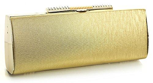 Borsa clutch/sera da donna, rigida, chiusura con Strass Oro - Oro