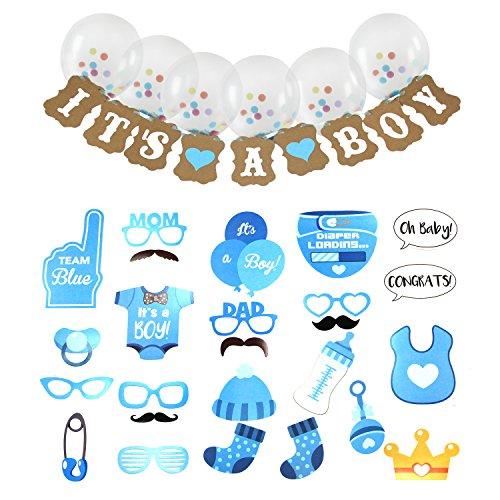 """einer Junge Geburtstagsfeier Dekorationen 25 STÜCKE Fotostand-Requisiten +1 STÜCKE """"IT'S A BOY"""" Banner+6 Stück Ballons (Cute Baby-dusche-dekorationen)"""