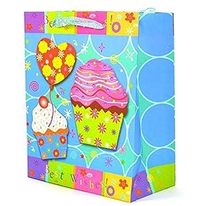 Gifts 4 All Occasions Limited SHATCHI-532 - Juego de 3 bolsas de papel decorativas para bodas, Navidad, fiestas de cumpleaños, multicolor