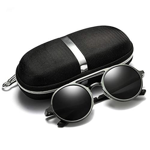 YJF-GIASSES Herren Retro Mode Runde Rahmen Polarisierten Sonnenbrillen, Aluminium Magnesium Gläser Fahren Sport Sonnenbrillen