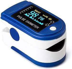 AZEADA Pulsossimetro da Dito, Saturimetro da Dito Portatile Professionale con Display LCD per Frequenza del Polso(PR) e La saturazione di Ossigeno(SpO2) Misure