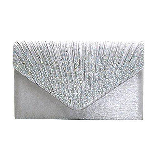 Snner Satin Tasche Hochzeit Abend Handtasche Umhängetasche Kette Diamant Ball Handtasche - Silber -