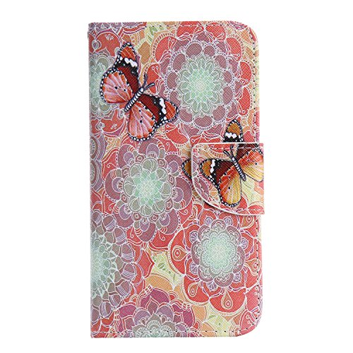 Meet de téléphones portables Housse Case | sac | Case pour Galaxy Note 5, Folio Leather | Case Cover | en cuir pour Samsung Galaxy Note 5 étui en cuir PU Handy Wallet | Tongues Wallet Style de couvert Orange fleur papillon