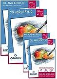 Sparpack Canson 2x Block A4 + 2x Block A3 – Ölpapier Acrylpapier 290 g/m² je 10 Blatt weiß – Papier Qualität für ÖL Acryl Nasstechniken + GRATIS Mischpalette