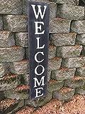 Zhaoshoping - Targa di Benvenuto Verticale in Legno, 61 cm, con Scritta in Lingua Inglese Welcome