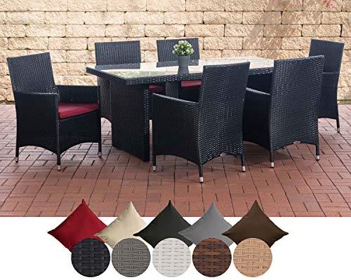 CLP Polyrattan Sitzgruppe Avignon (Tisch 180 x 90 cm + 6 x Polyrattan Stuhl Julia + Sitzauflagen), bis zu 5 Rattan-Farben + 5 Bezugsfarben wählbar Rattanfarbe: Schwarz, Bezugfarbe: Rubinrot