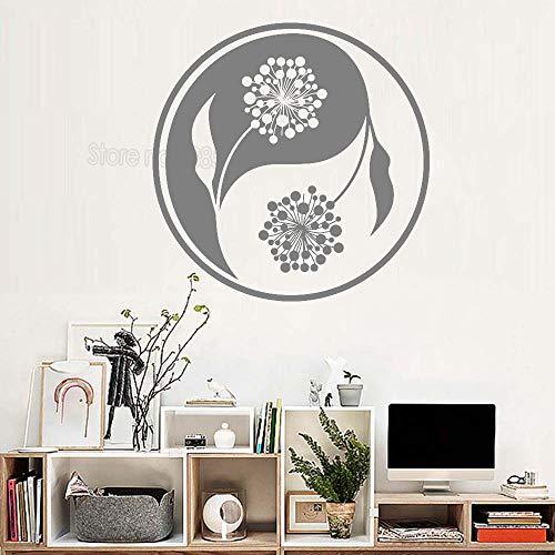 koration Blume Pflanze Yoga wandaufkleber Vinyl wandapplikation Wohnzimmer wanddekoration schöne Yoga Studio 56 cm x 56 cm ()