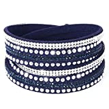 fabulous Armband Wrap Kaskade Slake Strasssteine Brillant Kristall Leder Wildleder blau