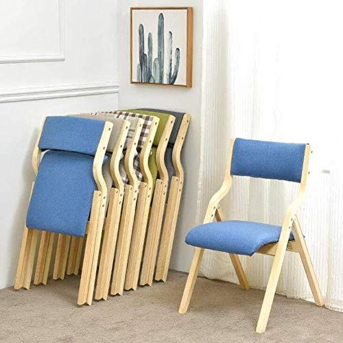 Klappstuhl, Holz Gepolsterter Esszimmerstuhl Bürostuhl Schreibtischstuhl 1 X (Color : Blue)