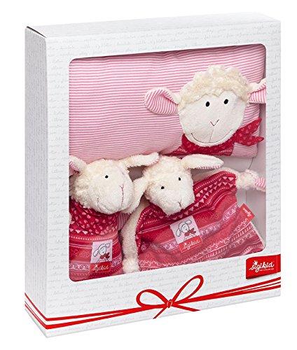 sigikid, Mädchen, Geschenkset, 3-teilig, Schmuse-Kissen, Spieluhr, Schnuffeltuch, Schaf, Schnuggi, Rosa, 41193
