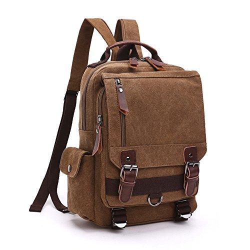 LOSMILE Zaino Uomo donne Zaini Tela Zainetto Borsa a Tracolla Borsa di Tela Sacchetto del Messaggero Sacchetto di Messenger bag Backpack. (caffè)