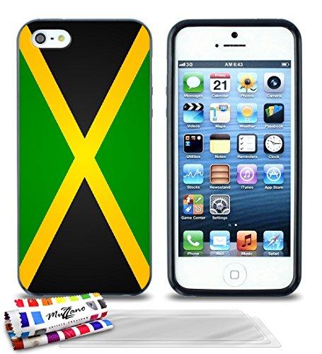 Ultraflache weiche Schutzhülle APPLE IPHONE 5 [Flagge Jamaika] [Lila] von MUZZANO + 3 Display-Schutzfolien UltraClear + STIFT und MICROFASERTUCH MUZZANO® GRATIS - Das ULTIMATIVE, ELEGANTE UND LANGLEBI Schwarz + 3 Displayschutzfolien