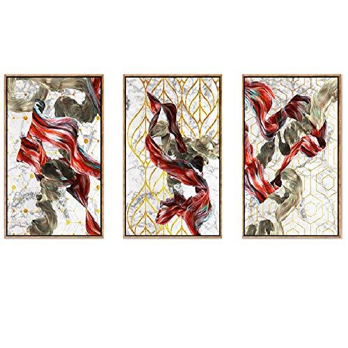 Moderne Leinwandbilder Wandkunst Gemälde, gestreckte und gerahmte Druckgrafik fertig zum Aufhängen von Giclée-Gemälden auf Leinwand, 3-TLG,C - Iii Gerahmt Leinwand