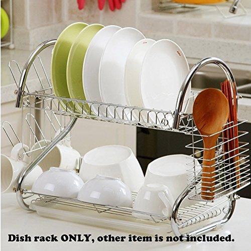 PanpA Darm Tasse Besteck Abtropfgestell Trockner Drip Aufbewahrung Rack Küche S Form Dual Layer Teller Dish Rack