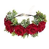 Awaytr - Fascia per capelli da donna, a forma di corona di rose, realizzata a mano, regolabile, per donne e ragazze, accessorio floreale per il capo, per matrimoni, festival Colore: rosso Taglia unica