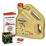 Ölwechselset Castrol Power1 10W-40 Öl + HiFlo Racing Ölfilter für Honda CBR 1000 RR Fireblade, Bj. 04-07 (Typ SC57); Motoröl + Filter + Dichtring